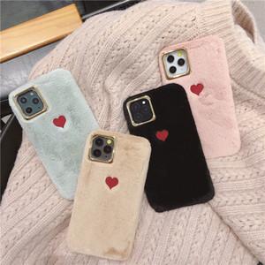 Amo o bordado coração telefone Plush capa para iphone 11 11Pro Max XS Fur Caso Max XR peludo fofo para iphone 7 8 capa