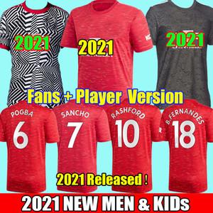 2021 Les fans de Manchester Joueur SANCHO Fernandes Greeenwood Pogba maillots de football unis 20 21 Rashford 2020 utd football chemises homme kits pour enfants