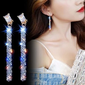 Bridal Wedding Shining Dangle Drop Earring Fashion Long Crystal Earrings For Women Trendy Geometric Simple Female
