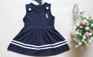 Hot sin mangas de los nuevos niños vestido lindo del verano del O-cuello del polo del vestido de la muchacha de los cabritos de la ropa de los bebés vestidos de las muchachas