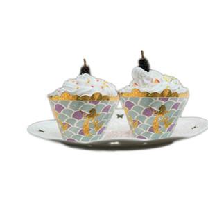 Modèle de sirène Wrapper Cake Paper Cup Surrounding Gold Boîte à gâteaux brillants Carte blanche Multi Couleur Le Nouveau 4gh C1