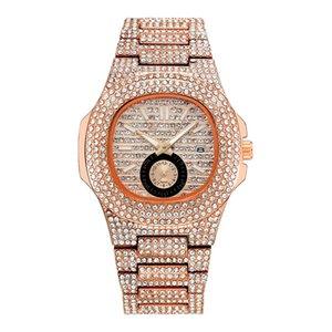 fashion womens luxe wristwatches golden stainless steel Full of diamonds women girl watches quartz movement women casual business watch