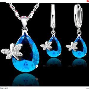 2020 new Fine Water Drop Trendy Jewelry Sets 925 Sterling Silver Cubic Zirconia Fashion Jewelry Necklace Pendant Earrings
