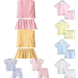 LzT7O Bebeğin yaz ince Tipi Klima pajamasJacquard pajamasa pamuklu jakar kolsuz iki parça bir takım dişi bebeğin yaz havası c