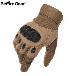Guantes ejército equipo táctico SWAT hombres llenos del dedo de combate Guantes militares Militar Shell carbono antideslizante guantes de Airsoft Paintball Y200110