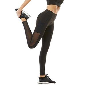 Siyah Kadınlar Yoga Pantolon Yüksek Waisted Yoga Tozluklar Mesh Dikiş Nefes Tayt Elastik Egzersiz Pantolon