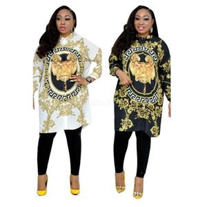 Prom Dresses 2019 lion Stampato Abito manica lunga sciolto Casual Estate Sexy Designer Donna Camicetta camicia d'oro Plus Size Abiti da sposa