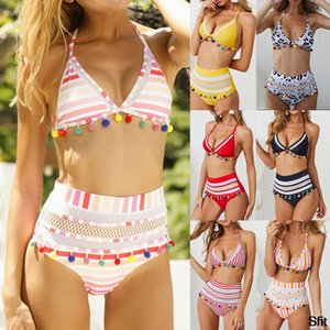 2020 Womens Tassel High Waist Bikini Set Padded Stripe Print Swimsuit Brazilian Bathing Suit Hot Two Pieces Biquini Mujer