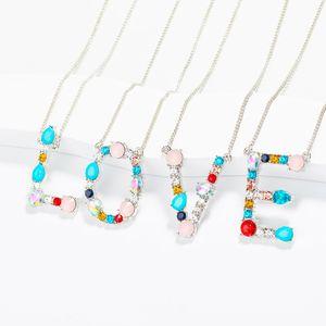 Colorido de moda 26 letras collar colgante para mujer cadena collar personalizado DIY carta creativa puede llegar a la letra exacta joyería