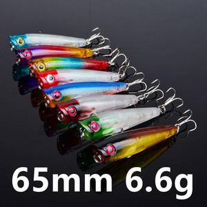 Karışık 8 Renk 65mm 6.6g Popper Balıkçılık Kancalar Balık oltaları 8 # Kanca Hard Yemler Yemler Yapay Bait Pesca Balıkçılık Aksesuarlar Mücadele