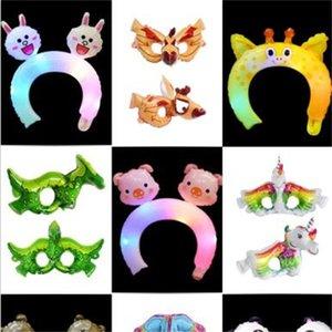 نظارات 3D مجسمة رئيس هوب الكرتون الحيوان النمذجة بالون الشعر الأطواق ضوء فلاش هالوين قناع الإبداعي 0 38qc L1