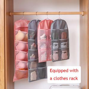 Double face Rangement suspendu Sac épais en tissu Oxford Sous Hanging Sac de rangement mural Soutien-gorge Sock Organisateur