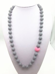 Silicone Necklace bpa free Non Toxic Black with Pink Heart Love Bead Grade Silicone Teething / Nursing Necklace for Mommy