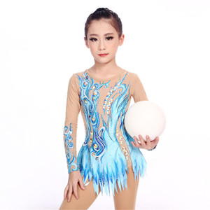 LIUHUO Women rhythmic gymnastics leotards girls performance suit Artistic gymnastics dress Stretch fabrics Ice Skating Blue Tights Dance