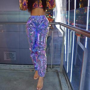 سروال بنطلون الثلاثية الأبعاد للنساء ركض للنساء مع الجانب جيوب فضفاض عاكس سروال جديد الهيب هوب 2019 تصميم جديد AL447