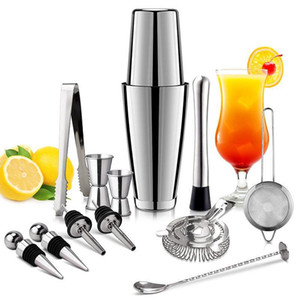 Cocktail 13pcs / Set Aço Inoxidável Shaker Ice Tong Mixer Drink Kit navegador Boston Barman Bares Set Professional Ferramenta Bartender