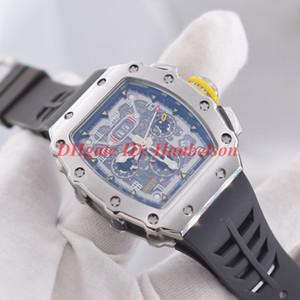 YENİ 11-03 Otomatik hareketi Çelik kasa Luxusuhr Fonksiyonlu İskelet kadranı R erkek Lastik bant orologio di lusso izlemek saatler