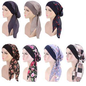 Mulheres Turban Hat 7 Cores muçulmano Hijab flores impressas Turban tampão tampa da cabeça do envoltório do lenço Headwear Strech Bandana LJJO7656