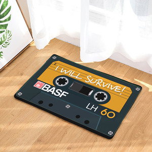 도어 매트 플란넬 플러시 빈티지 카세트 테이프 실내 Doormat 비 슬립 도어 바닥 매트 카펫 러그 장식 현관 Doormat Tapete