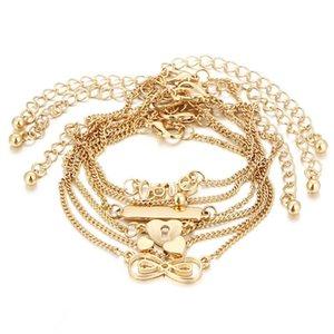 GERUISHA 6PCS Knöchel-Armband Set Boho Schmuck böhmischen Goldketten Unendlichkeit Doppel-Herz-Liebes-Verschluss-Charme-Armbänder für Frauen Ank