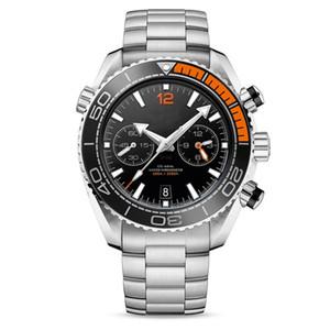 mens relógio relógios de aço inoxidável completa Japão VK64 quartzo movimento 5ATM cronógrafo impermeável relógio de pulso montre de luxe