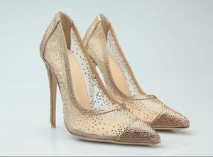 Printemps Eté nouvelle strass bout pointu chaussures de banquet talons aiguilles de la mode princesse sexy tous les match chaussures femmes