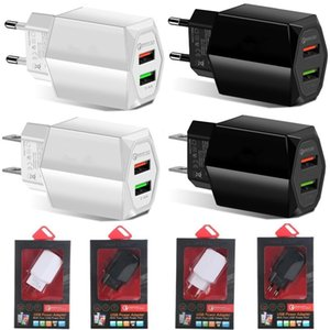 Dual Usb ports QC3.0 Fast Quick Charge Wall charger For ipad iphone 7 8 x 10 samsung s6 s8 s9 s10 android phone with box