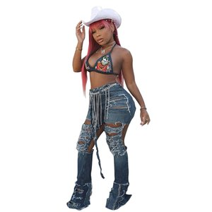 2020 Jeans 2083 Versitile Fashion Cool Large With Holes Washing High-waisted No Bombs Micro Bell-bottom Pants New Style