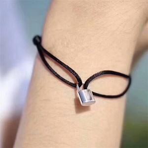 Mulheres amante Bangle Handmade corda ajustável Cadeia Charm Bracelet bloqueio pingente de aço inoxidável de titânio para o presente com letra
