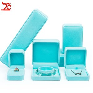 Velvet Pendant Necklace Earrings Bracelet Jewelry Package Case Wedding Ring Jewelry Organizer Storage Green Gift Box