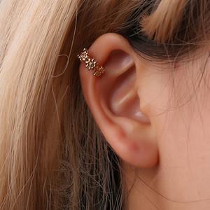 Простой U-образный Ear Cuff розового золота серьги для женщин Цветочные уха клип Женские серьги клип без пирсинга Oorbellen Pendientes