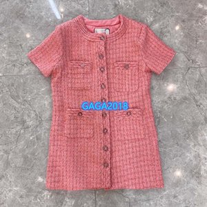 high end women girls tweed shirt dress plaid single breasted crew neck short sleeve a-line mini skirt 2020 fashion design pink dresses