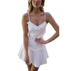 Женские летние Boho пляж кружевное платье партии коктейль элегантный белый vestido playa повседневная женская одежда для отдыха