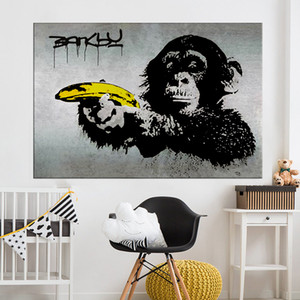 Картина на холсте Бэнкси Граффити Живопись Шимпанзе Холдинг бананом стене Картины для гостиной Home Decor Печатается