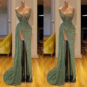 Abiti da sera lunghi con glitter verde matcha vintage 2020 abiti da festa da donna con sirena di spaghetti abiti da festa di promenade