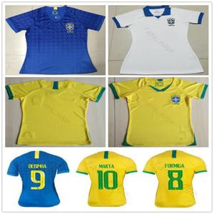 2019 월드컵 여자 브라질 축구 유니폼 10 마르타 9 데빈 아드리 아나 7 ANDRESSA 맞춤 홈 어웨이 세 번째 여자 숙녀 여자 축구 셔츠