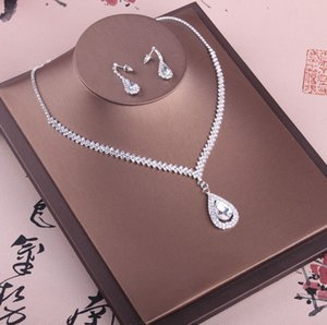 Shinning Bridal Jewelry 2 Pieces Sets Necklace Earrings Bridal Jewelry Bridal Accessories Wedding Jewelry T213002