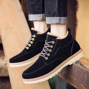 Hot Sale-2019 Hora Masculino Inglaterra alta Ajuda roupas de trabalho Shoe Aumento de Down espessamento Cotton manter aquecido Shoes Tide algodão acolchoado Martin Botas