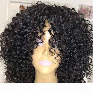 Short bob Afro Kinky Curly Human Wig with bang fringe Pre Plucked Bleached Knots Remy Mongolian Human Hair Wigs 150%density