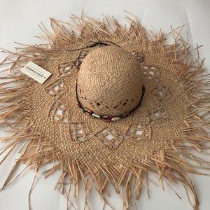 ZJBECHAHMU Nueva Fedoras sólidos Vintage Sun de la paja sombreros para mujeres Summer Girl Caps Accesorios de la joyería playa sombreada sombreros plegables T200602