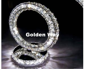 Chegada Nova inoxidável Rodada LED estilo moderno Aço Crystal abajur Diamond Ring Desk Luz Ao lado de Iluminação D300mm H300mm Lamp