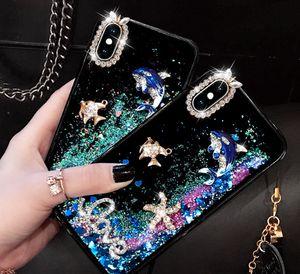 İYI Bling Lüks YENI Tasarımcı Quicksand Cep Telefonu Kılıfı için iphone max 7 7 p samsung S10 note8 balina Quicksand Cep Telefonu Kılıfı