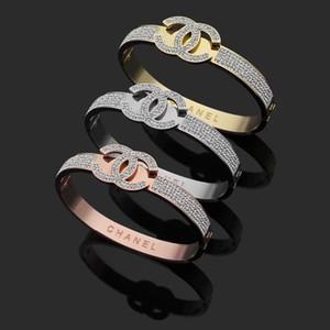 Top Quality CZ pedra Titanium pulseira de aço explosão modelo de carta lama perfurar cheio bracelete de diamantes de Preços por Atacado Bangles