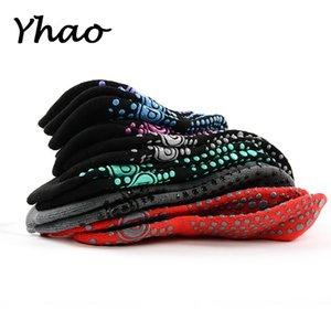 Yhao Não Toe Piso Socks macio respirável Mulheres Terry inferior deslizamento prova Yoga Meias Trampolim Adulto