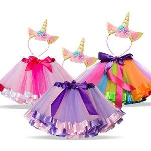 Unicorn Sets Princess Girls Clothes Summer Unicorn Rainbow tutu Skirt for Baby Girl Birthday Party Clothing Size 1 3 5 8 Years