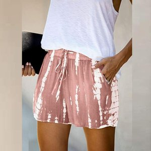 Summer Shorts For Women Fashion Comfy Drawstring Splice Casual Elastic Waist Shorts Pocketed Loose mulher calções#45