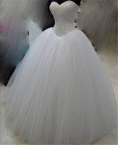 Beaded Tulle Ball Gown Sweetheart Wedding Dresses Lace Up Bridal Gowns White Bride Dress Custom Made