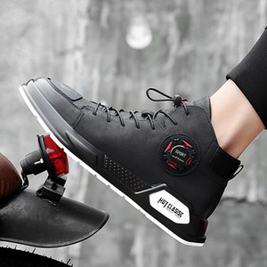 Fashion Men Shoes Autumn Genuine Leather Footwear For Man New High Top Lace-up Casual Shoes Men Sneakers Handmade Shoes 38-44