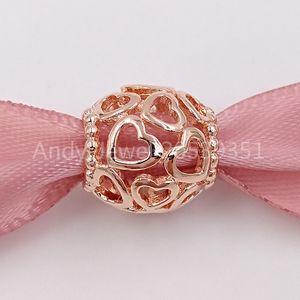 Auténtico 925 cuentas de plata abierto su corazón de filigrana, los granos de Pandora Rose se adapta al estilo europeo joyería de Pandora collar de las pulseras 7