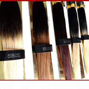 """Xcsunny 100% Remy indiano capelli Ombre capovolgo estensioni dei capelli 18 """"20"""" 1g s Estensione Keratine Biondi estensione dei capelli umani"""